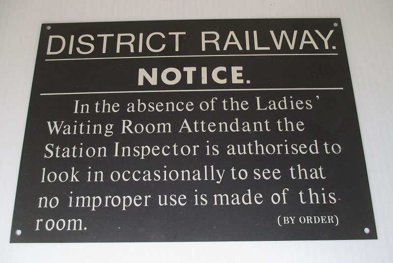 Wall decor, 10.5 inch railroad sign about the Ladies Waiting Room. Unknown age. Use for humorous bathroom decor or great for train collectors.