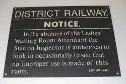 District Railway Notice, Ladies Waiting Room Bathroom Sign