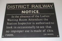 District Railway Notice, Ladies Waiting Room Sign