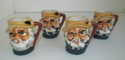 Occupied Japan Toby Mugs, Set of 4, From 1945 � 1952