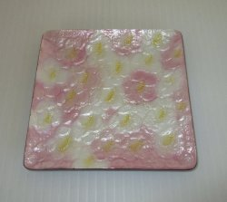 Ando Cloisonne Enameled Dish, Pink White 4 in, Mid Century