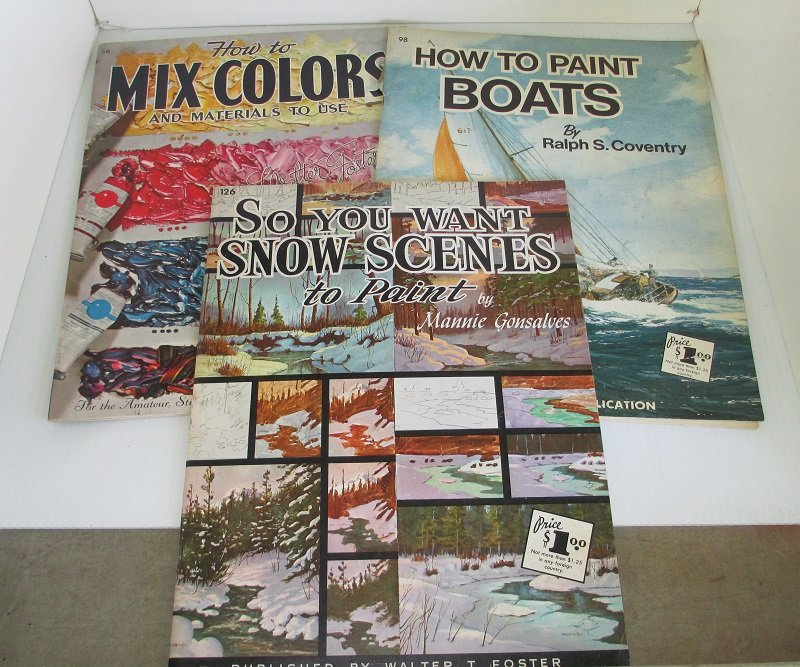 Walter T. Foster Publishing Company, Lot of 3 'How To' books related to painting and various art projects. Late 1950s time frame.