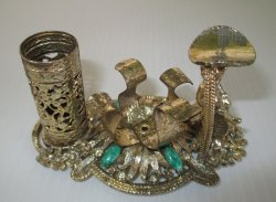 SF Sam Fink 1950s Combo Lipstick Polish Holder w Finger Rest
