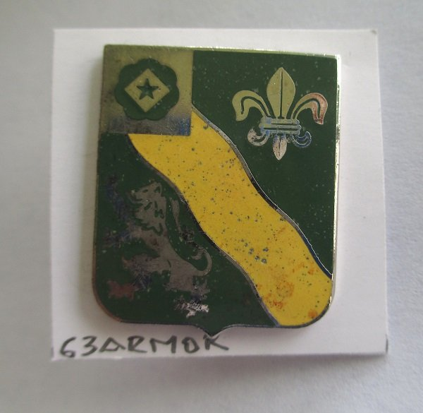 63rd U.S. Army Armored insignia metal pin. Worn on Army Uniforms and caps. N.S. Meyer 22M. Unknown date, but an older pin.