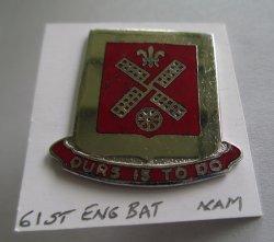 61st Engineer Battalion U.S. Army Insignia DI Pin, Vietnam