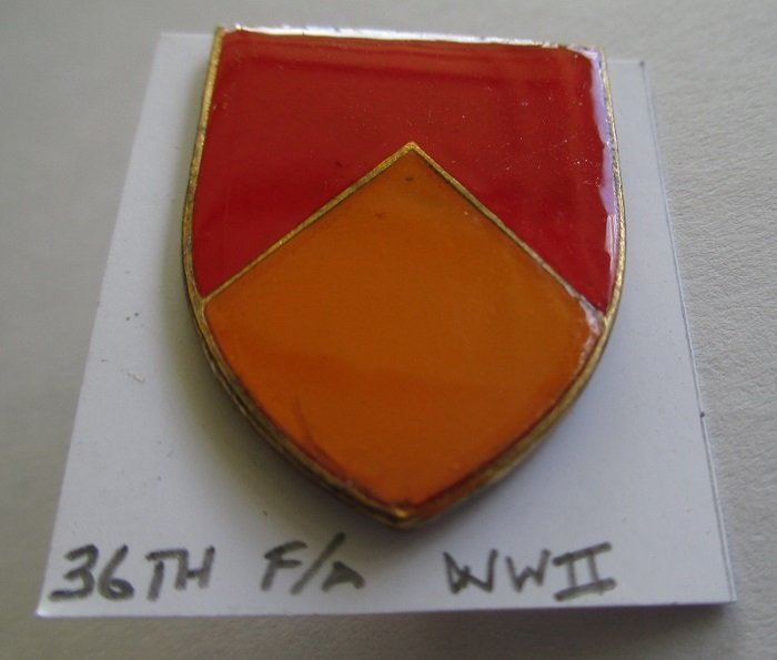 36th U.S. Field Artillery insignia metal pin. Mid to late 1940s time frame. WWII. No logo. Worn on Army Uniforms and caps.