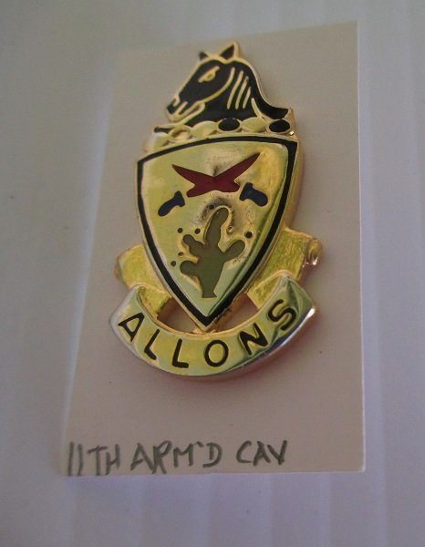 11th U.S. Army Armored Calvary DUI insignia metal pin. Has Allons logo. Possibly WWII or Vietnam time frame. Worn on Army Uniforms and caps. V-21