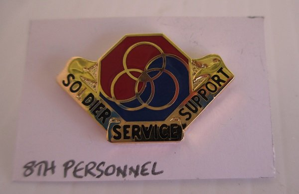 8th U.S. Army Personnel enamel DUI DI insignia metal pin. Has the motto Soldier Service Support. Worn on Army Uniforms and caps. V-21