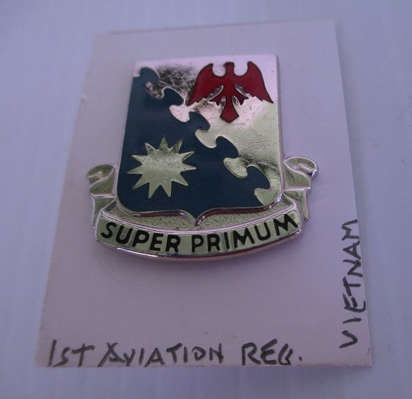 1st U.S. Army Aviation Regiment Super Primum insignia metal pin from the Vietnam war time frame. Worn on Army Uniforms and caps. N.S. Meyer 22M