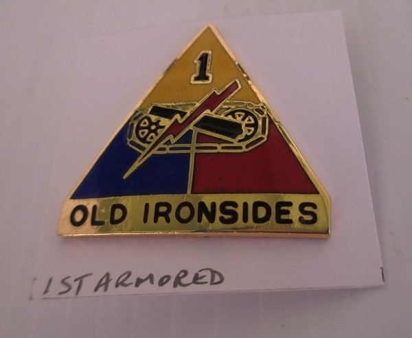 1st U.S. Army Armored Division enamelled insignia metal pin. Unknown time frame. Worn on Army Uniforms and caps. Excellent condition. G23