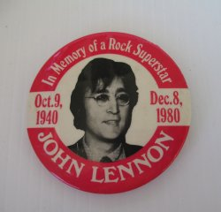 John Lennon In Memory of Rock Superstar 3 inch Pin Beatles