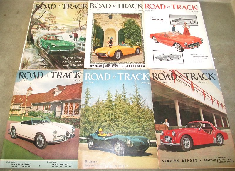 6 issues of Road & Track magazine from 1956. Porsche, Corvette, auto racing, new cars, futuristic cars, stories, photographs, and great old ads.