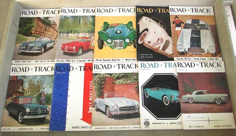 10 issues of Road & Track magazine from 1955. Porsche, Corvette, auto racing, new cars, futuristic cars, stories, photographs, and great old ads.