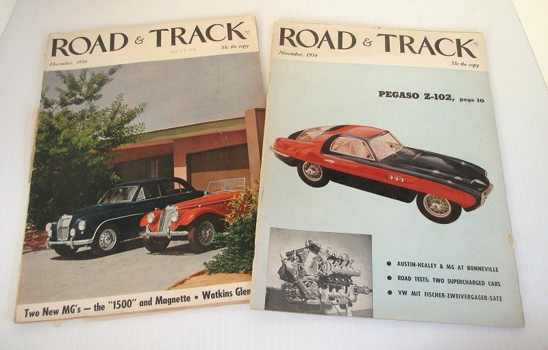 2 issues of Road & Track magazine from 1954. MG, VW, auto racing, new cars, futuristic cars, stories, photographs, and great old advertisements.