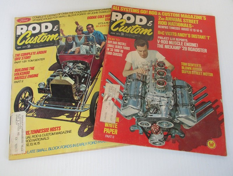 Rod & Custom magazine from May and June 1971. Hot rods, custom cars, vintage cars, street rods, roadsters, photos, and great old advertisements.