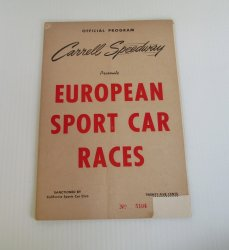Carrell Speedway Official Program, Gardena CA Probable 1952