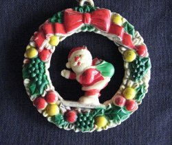 Christmas Ornament, Santa Standing in a Wreath, 1950s