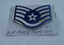 1 Air Force Staff Sargent E5 Enamel Rank Pin
