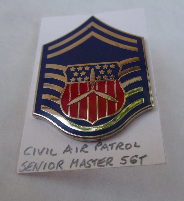 Senior Master Sargent Rank Pin for Civil Air Patrol personnel. Marked D22 on the back. Unknown date. Worn on uniforms. Estate find.