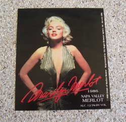 Marilyn Merlot 1986 Napa Valley Merlot Label, Marilyn Monroe