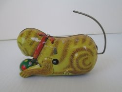 Tin Cat Wind Up Toy with key, Rolls and flips