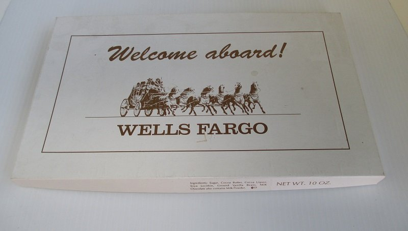 Candy box that Wells Fargo Bank felt pennant will be delivered in.