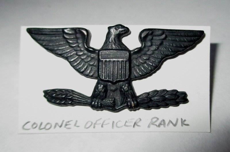 This U.S. Army rank pin designates Colonel Officer. The Eagle is right facing. Marked on the back with a V in a circle and G 1 (or G I). Worn on uniforms.