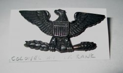 1 Colonel Officer Rank Pin, Left facing Eagle, U.S. Army