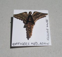 1 Officer's Medical Admin Collar Pin, WWII, U.S. Army