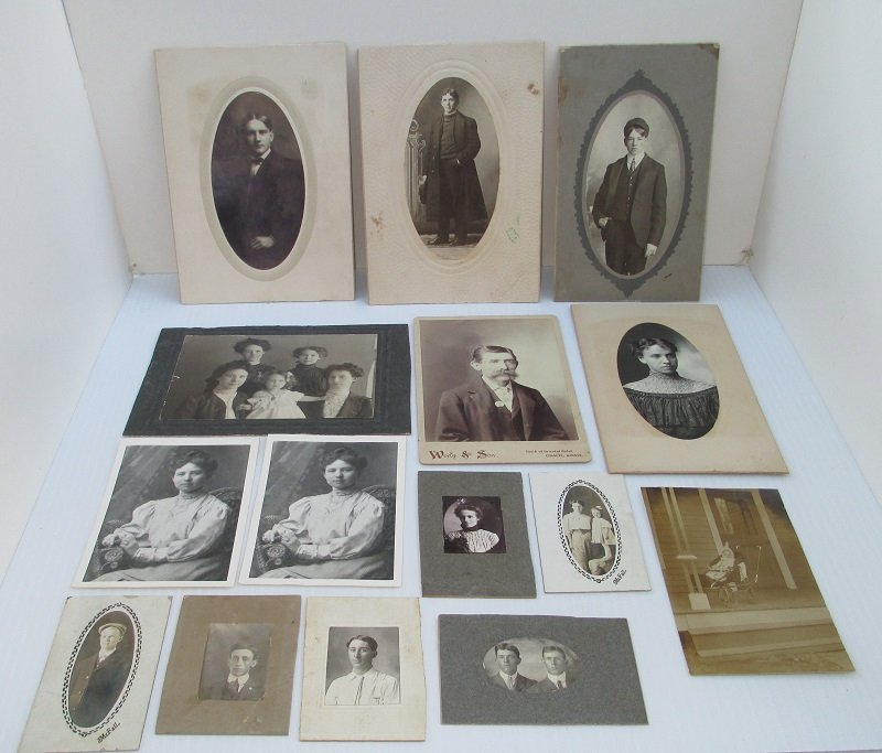 A couple of these unframed photographs have the name Theo or Theodore Record with the location of Chanute Kansas. 15 photos dating 1800s to 1900s.