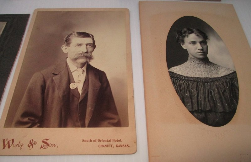 Family photos from antique photo album. Family name of Record. Location believed to be Chanute Kansas.