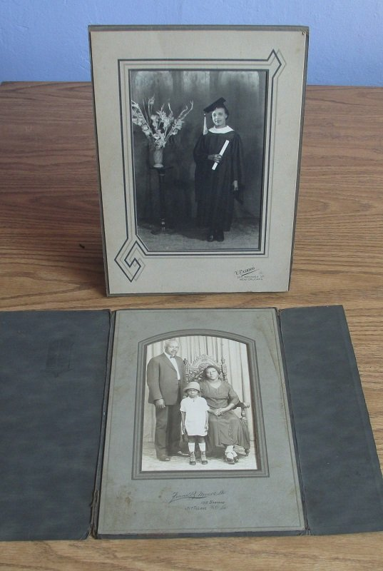 Photos of a Black African American couple with girl, plus additional photo of a woman graduate in cap and gown with diploma. 1930s New Orleans.
