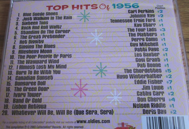 Top Hits of the 50s, 20 top hits of 1956 from original artists. Disk 1 of 4 CD set.