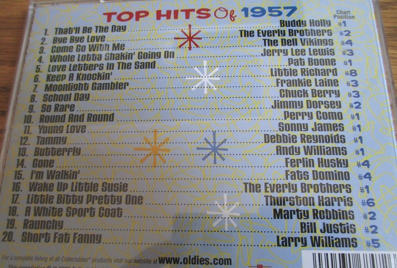 Top Hits of the 50s, 20 top hits of 1957 from original artists. Disk 2 of 4 CD set.