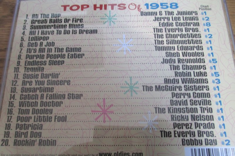 Top Hits of the 50s, 20 top hits of 1958 from original artists. Disk 3 of 4 CD set.
