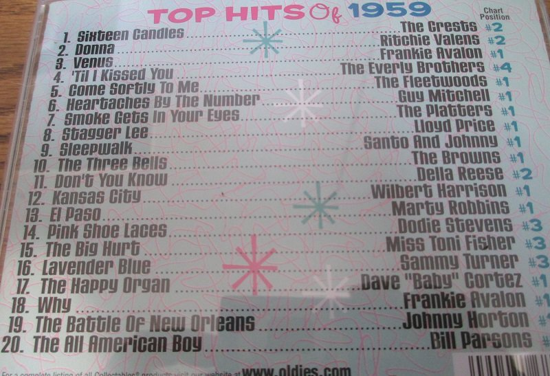 Top Hits of the 50s, 20 top hits of 1959 from original artists. Disk 4 of 4 CD set.