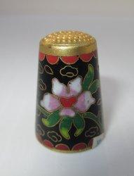 Cloisonne Enamel Goldtone Floral Design Thimble, Beijing