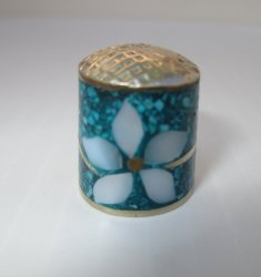 Alpaca Mexico Silver Thimble, Mother Pearl Crushed Turquoise