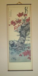 Asian Art, Panda Family, Scroll Wall Hanging