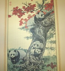 '.Panda Family Wall Scroll.'
