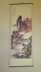 Asian Art, Mountains, Village, Waterway Wall Scroll