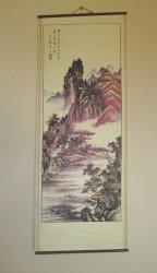 Asian Art, Mountains, Village, Waterway Wall Scroll
