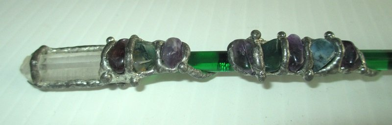Glass, Crystal, Amethyst and green stones adorn this wand. 5.75