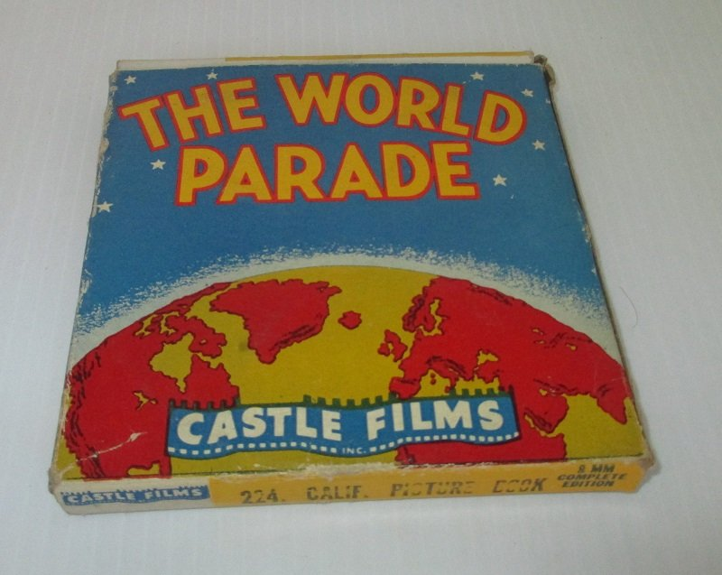 Vintage 1940s movie from Castle Films. From The World Parade series. Titled California Picture Book. Film number 224.  8mm in original box.