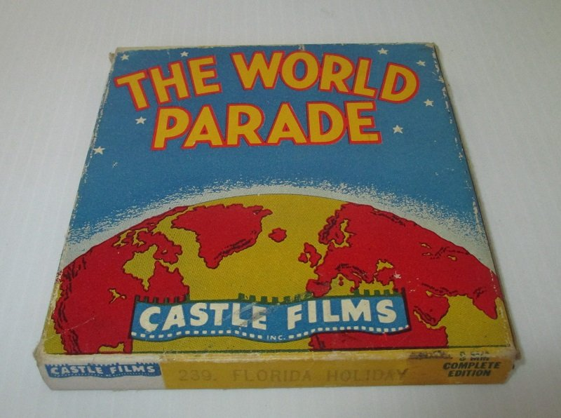 Vintage 1940s movie from Castle Films. From The World Parade series. Titled Florida Holiday. Film number 239.  8mm in original box.