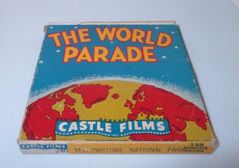 Vintage 1940s movie from Castle Films. From The World Parade series. Titled Yellowstone National Park. Film number 240.  8mm in original box.