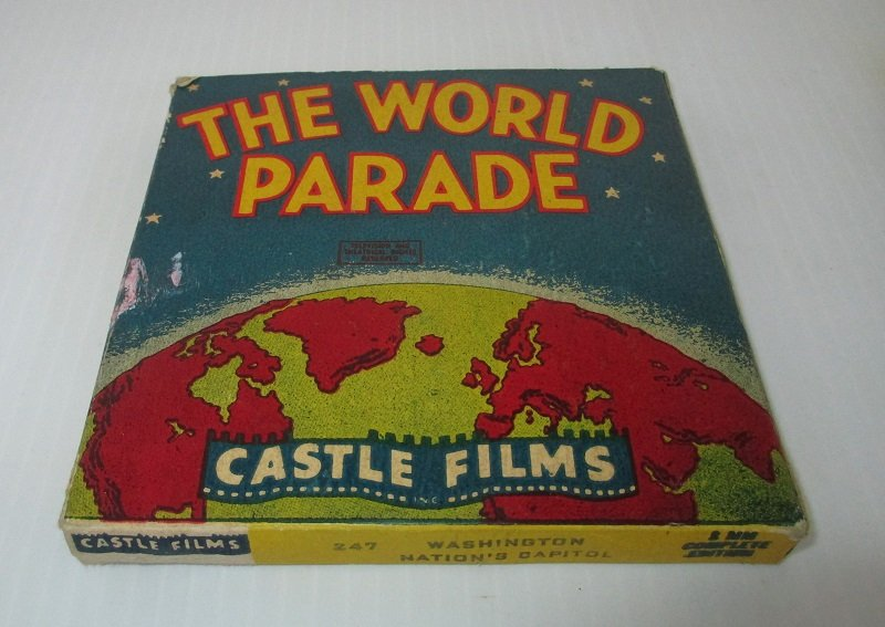 Vintage 1940s movie from Castle Films. From The World Parade series. Titled Washington Nation's Capitol. Film number 247.  8mm in original box.