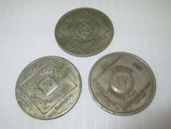 NA Narcotics Anonymous, 3 Bronze Tokens, 2,3,4 Year