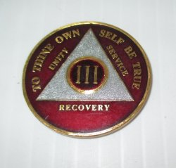 AA Alcoholics Anonymous, 3 Year Tri Plate Enamel Token