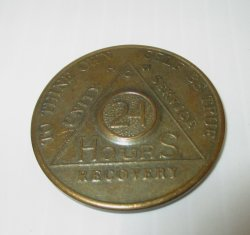 AA Alcoholics Anonymous, 24 Hours Bronze Token